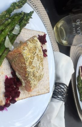Herb Crusted Salmon with Beet & Horseradish Spread