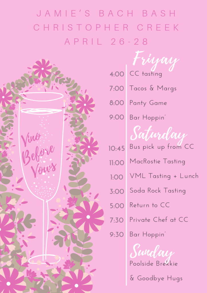 bachelorette party in Napa, Healdsburg, itinerary, printout, template, timeline