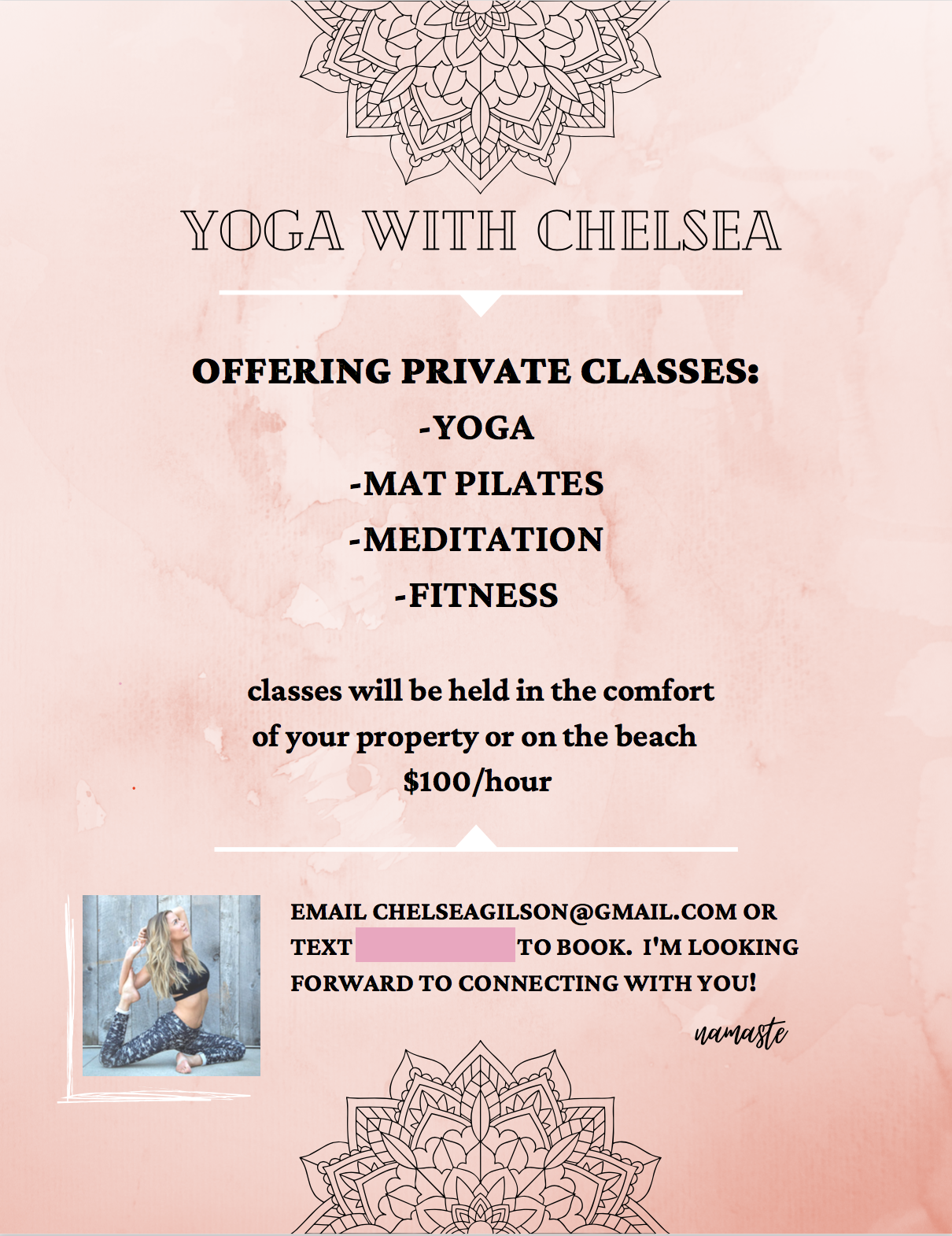 private yoga class chelsea gilson